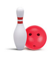 bowling skittle and red bowling ball isolated on vector image vector image