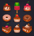 cakes donuts and desserts shiny and glossy vector image
