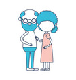 caricature faceless full body elderly couple vector image