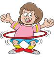 Cartoon girl using a hula hoop vector image