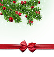 Christmas background with fir branches and balls vector image vector image