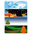 christmas gorisontalbanners vector image vector image