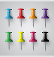 colorful pins on grey background vector image