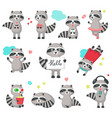 cute raccoon icon set isolated vector image