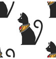 egyptian cat in gold collar with ruseamless vector image vector image