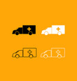 emergency car black and white set icon vector image