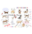 funny dogs sketches set hand drawn vector image