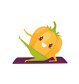 funny pepper working out on an exercise mat vector image vector image