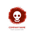 halloween skull icon - red watercolor circle vector image