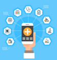 hand hold smart phone with medical application vector image