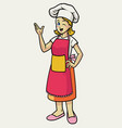 happy cheerful female chef wearing apron vector image vector image
