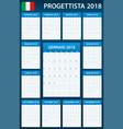 italian planner blank for 2018 scheduler agenda vector image