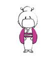 kimono japanese girl cartoon vector image