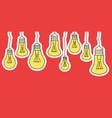 linear cartoon hanging light bulbs vector image vector image