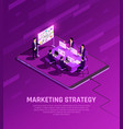 marketing strategy neon background vector image vector image