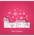 Merry Christmas gift greeting card Paper design vector image vector image