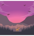 nature scene deer on sunset sunrise in forest vector image