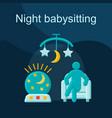 night evening babysitting flat concept icon