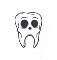 old sick human skull tooth with eyes vector image vector image