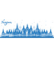 outline nagpur india skyline with blue buildings vector image vector image