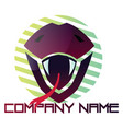 purple snake head with a tongue out logo design vector image vector image