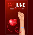 realistic blood donor poster vector image vector image