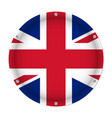 round metallic flag of united kingdom with screws vector image