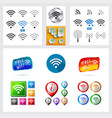 set of different wireless and wifi icons and vector image