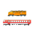 set railway locomotives railroad transport vector image vector image