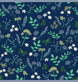 summer night floral with butterflies pattern vector image vector image