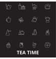teatime editable line icons set on black vector image vector image