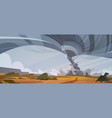 tornado in countryside hurricane landscape of vector image vector image