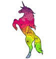 unicorn with transition colors vector image vector image