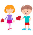 valentine card with girl and boy characters vector image