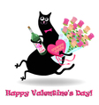 Valentines day card with cat vector image