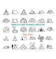 vintage hand drawn tents icons bundle simple line vector image vector image