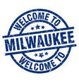 welcome to milwaukee blue stamp vector image vector image