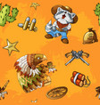 western rodeo seamless orange background pattern vector image vector image