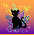 wild black cat with green eyes sit in foliage and vector image