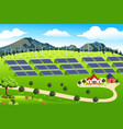 wind turbines and solar panels farm vector image
