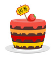 Eat me Big cake with strawberries Magic pie from vector image