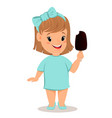 pretty little girl in blue dress eating ice cream vector image