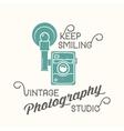 Vintage Camera Photography Studio Label vector image