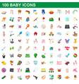 100 baicons set cartoon style vector image