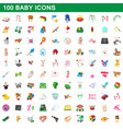 100 baicons set cartoon style vector image vector image