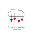 a live streaming computer cloud sign vector image vector image