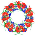 a wreath of red blossoming poppies green unblown vector image vector image