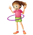 A young girl playing hulahoop vector image vector image