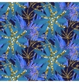 Abstract indigo blue batik flower pattern vector image