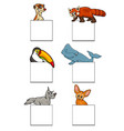 animals characters with cards design set vector image